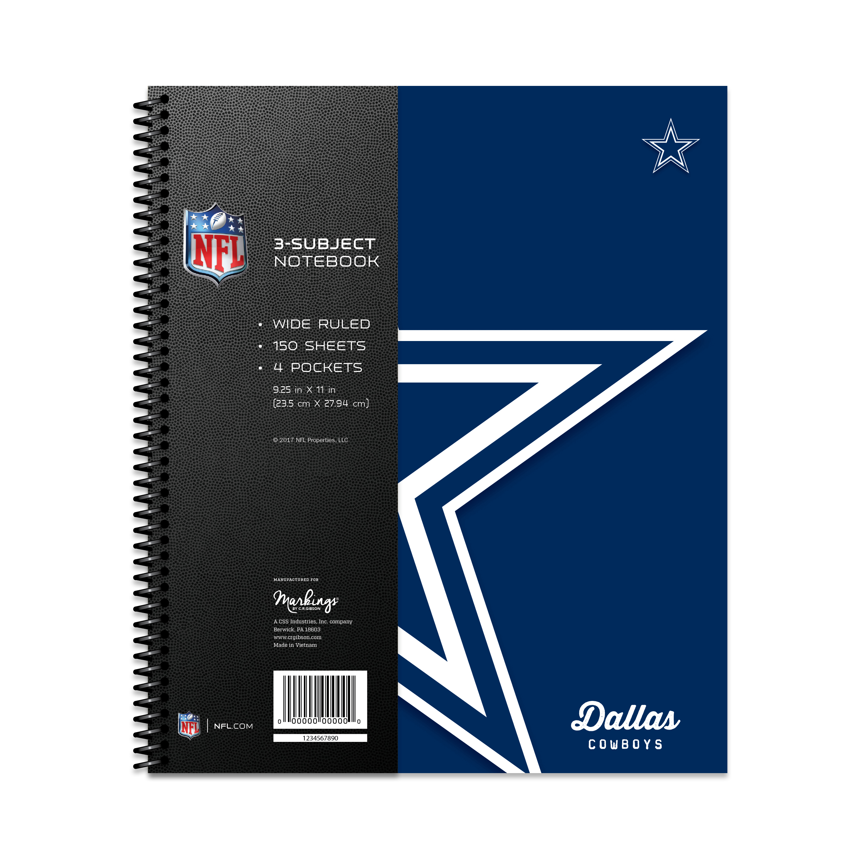 DALLAS COWBOYS CLASSIC 3-SUBJECT NOTEBOOK