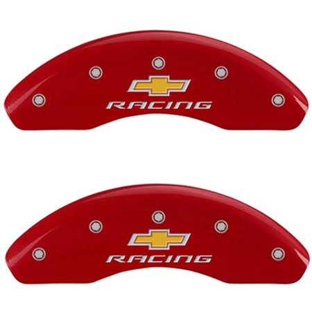 Set of 4 MGP Caliper Covers 14232Sbrcrd, Engraved Front and Rear: Chevy Racing, Red Powder Coat Finish, Silver Characters