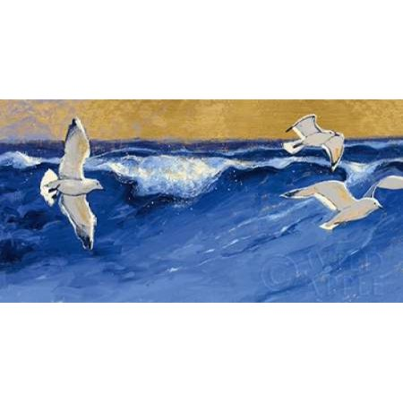 Seagulls with Gold Sky Crop Canvas Art - Shirley Novak (10 x