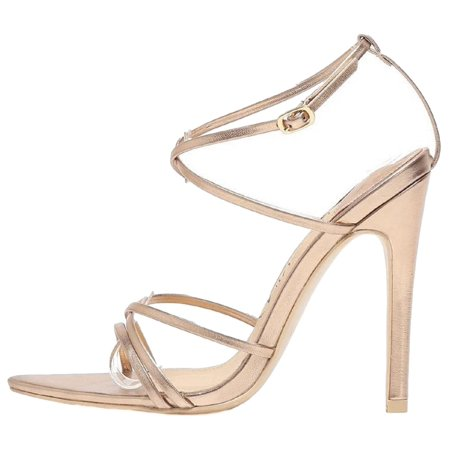294-9 Strappy Patent Metallic Triangle Pointed Open Toe Stiletto High Heel Gladiator Sandal Rose Gold