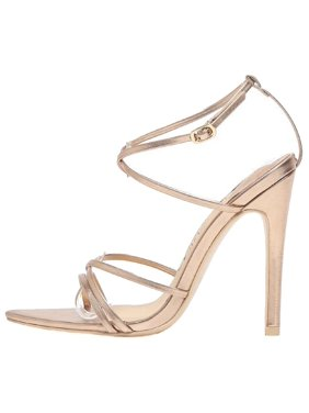 eed0064ad Product Image 294-9 Strappy Patent Metallic Triangle Pointed Open Toe  Stiletto High Heel Gladiator Sandal Rose