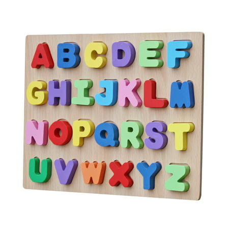 Timy Kids Preschool Alphabet Learning Block Raised See-Inside ABC Large Wooden Puzzle (26 pcs)
