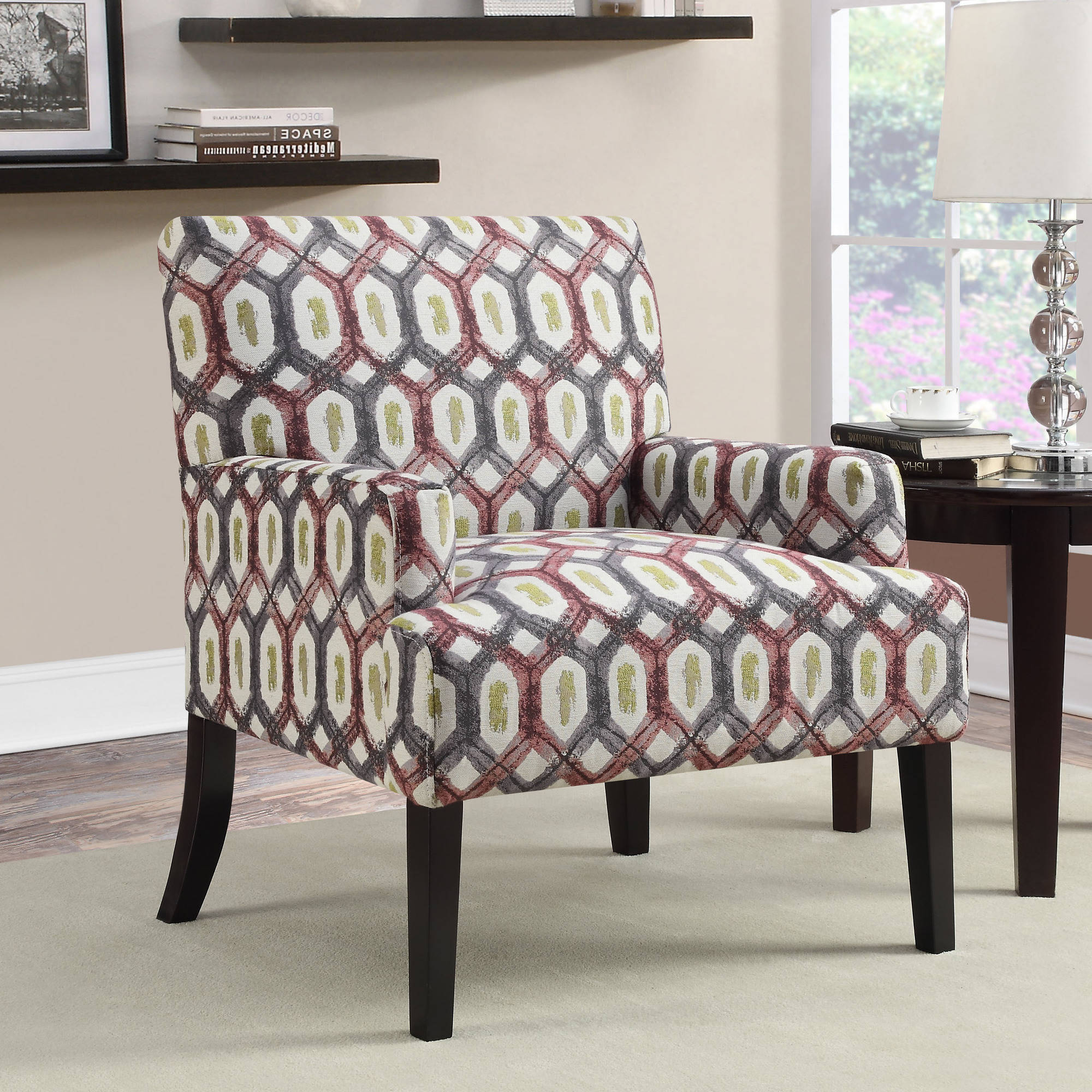 Coaster Geometric Patterned Accent Chair With Red And Grey Design