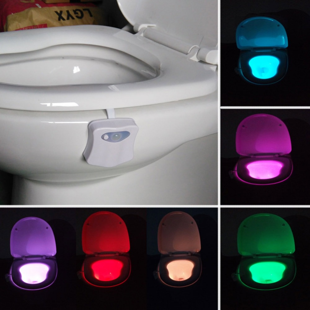 New 8 Colors Motion-Activated Bathroom Toilet Night Light
