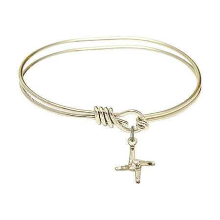 5 3 4 Inch Oval Eye Hook Bangle Bracelet W  St  Brigid Cross Charm Gold Filled Medal