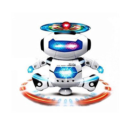 Robot Toys For Kids (KI'MAG Robot Dancing Toy For Kids With Body Spinning 360 degrees and Bright Flashing Lights - For Kid Develop Motor)