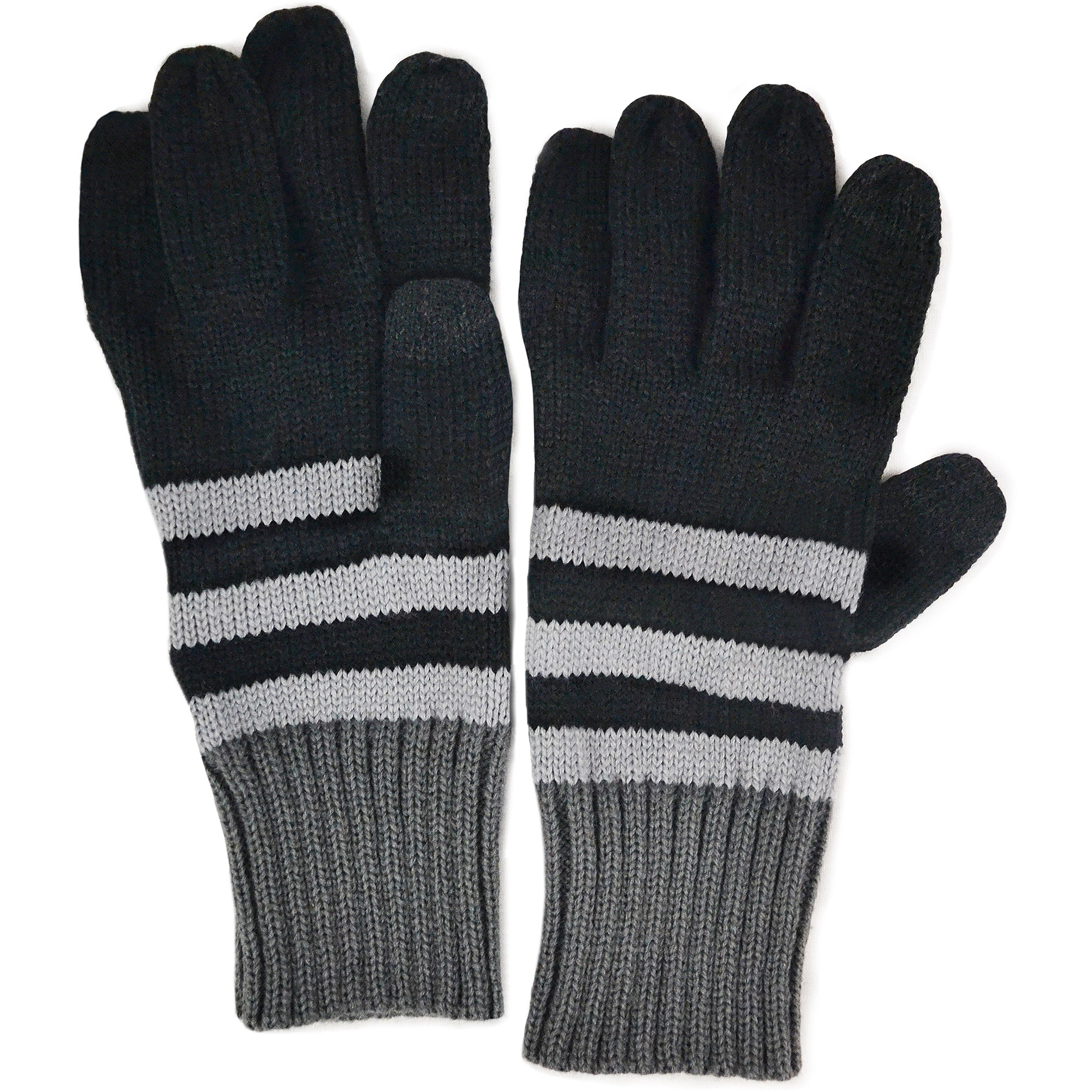 MUK LUKS Men's Ribbed Color Block Stripe Gloves