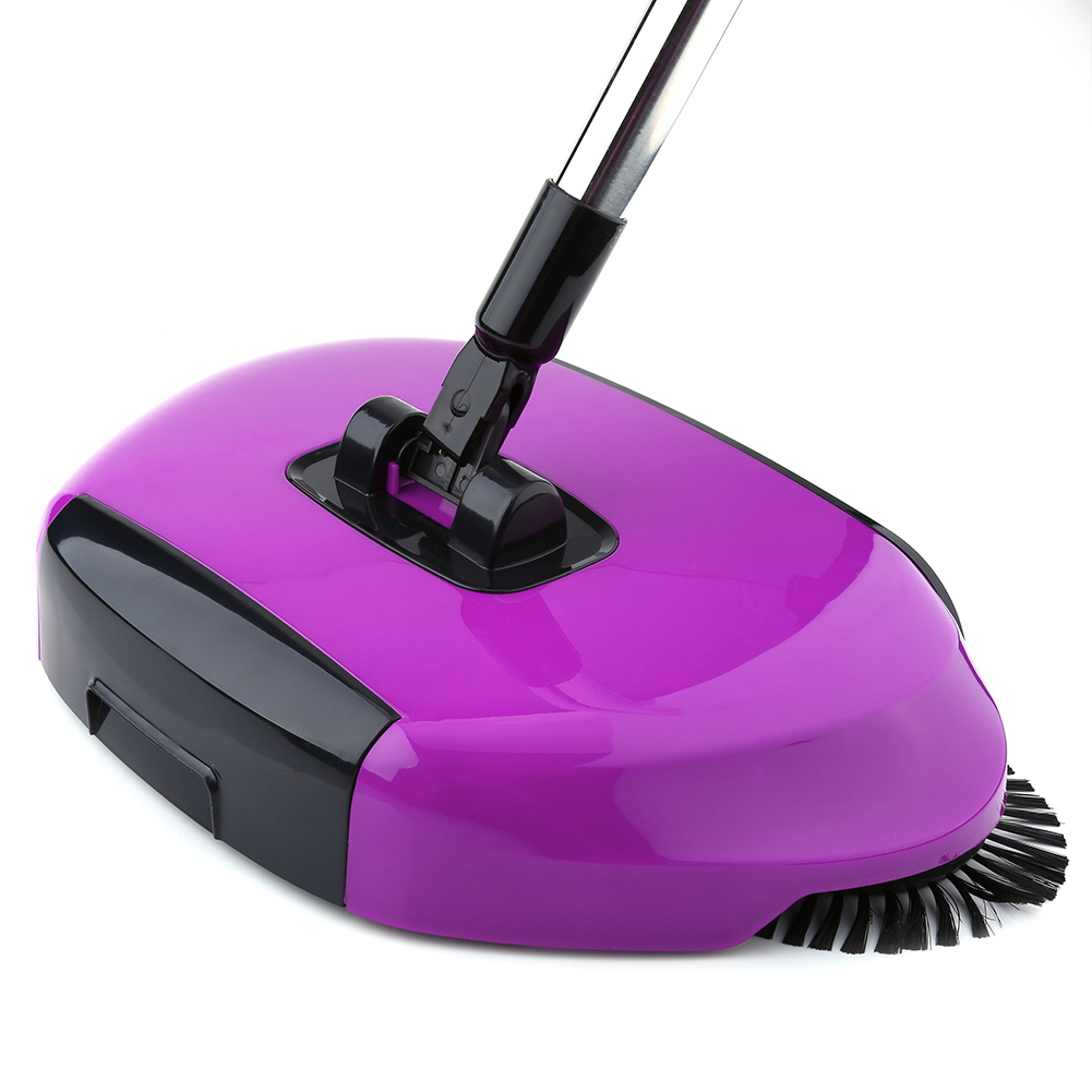 Automatic Hand Push Sweeper Broom, Estink Household Dust Collector Sweeping Machine, 360 Rotary Floor Surface Cleaning Tool(Purple)