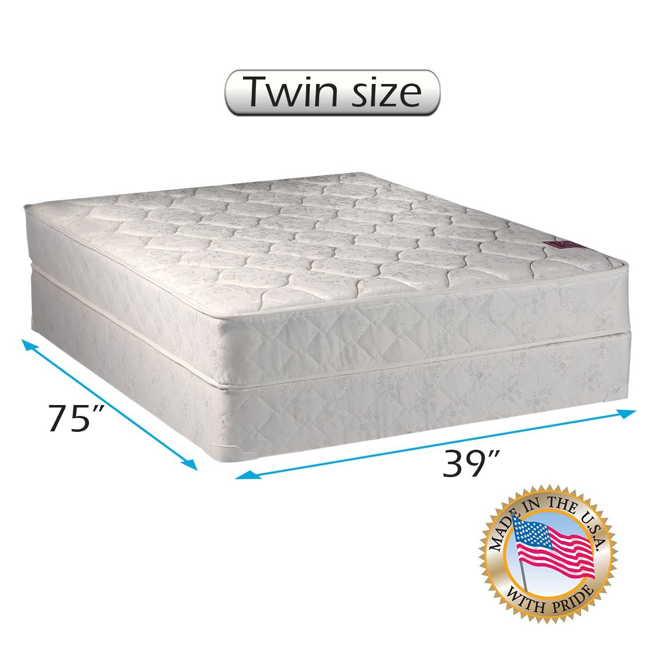 "American Legacy Innerspring Coil Twin Size (39""x75""x8"") Gentle Firm, Mattress and Box Spring Set - Fully assembled, Orthopedic, Good for your back, Superior Quality by Dream Solutions USA"