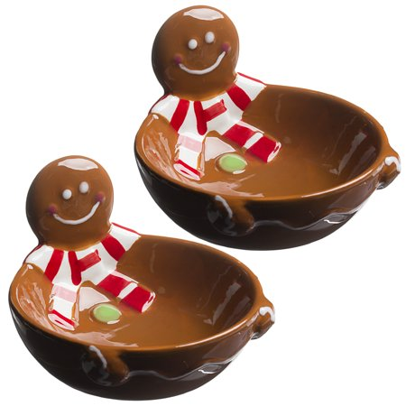 2 pack christmas candy dishes holiday ceramic santa snowman penguin gingerbread man set