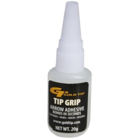 Tip Grip Adhesive Bottle, 20gm, Instant Bond arrow adhesive bonds in seconds to feathers, vanes, nocks and inserts By Gold Tip](Feather Arrows)