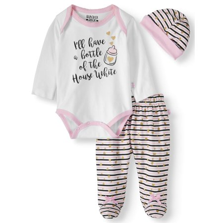 - Bodysuit, Pants & cap, 3pc outfit set (Baby Girls)