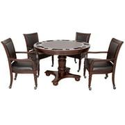 Hathaway Bridgeport 2-in-1 Poker Game Table Set, 48-in W x 30-in H, Walnut Finish