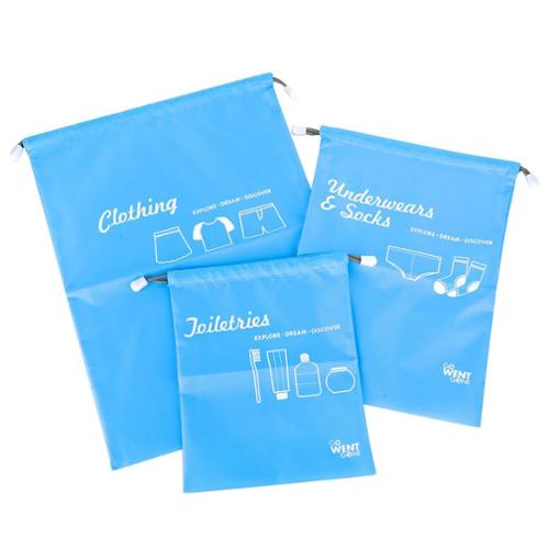 Zodaca 3-piece Set Travel Luggage Packing Clothes Shoes Toiletry Storage Drawstring Bags Organizer Pouch - Light Blue