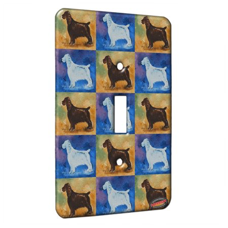 KuzmarK™ Single Gang Toggle Switch Wall Plate - Liver Field Spaniel Dog Pattern Art by Denise