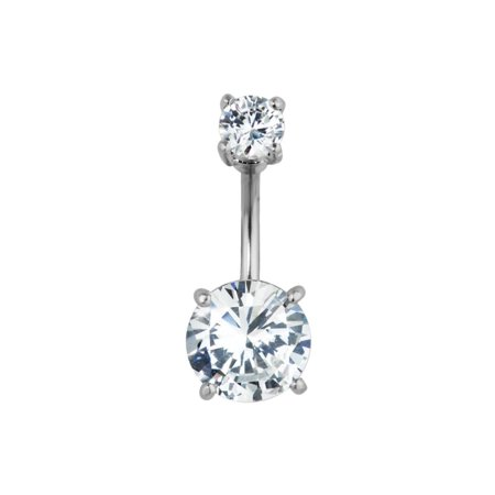 Surgical Steel Big Bling Cz Crystal Belly Button Ring