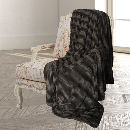 Laurel Park Embossed Faux Fur Throw Blanket & Bedspread - Luxurious Over-sized Faux Fur Bed Throw Blanket