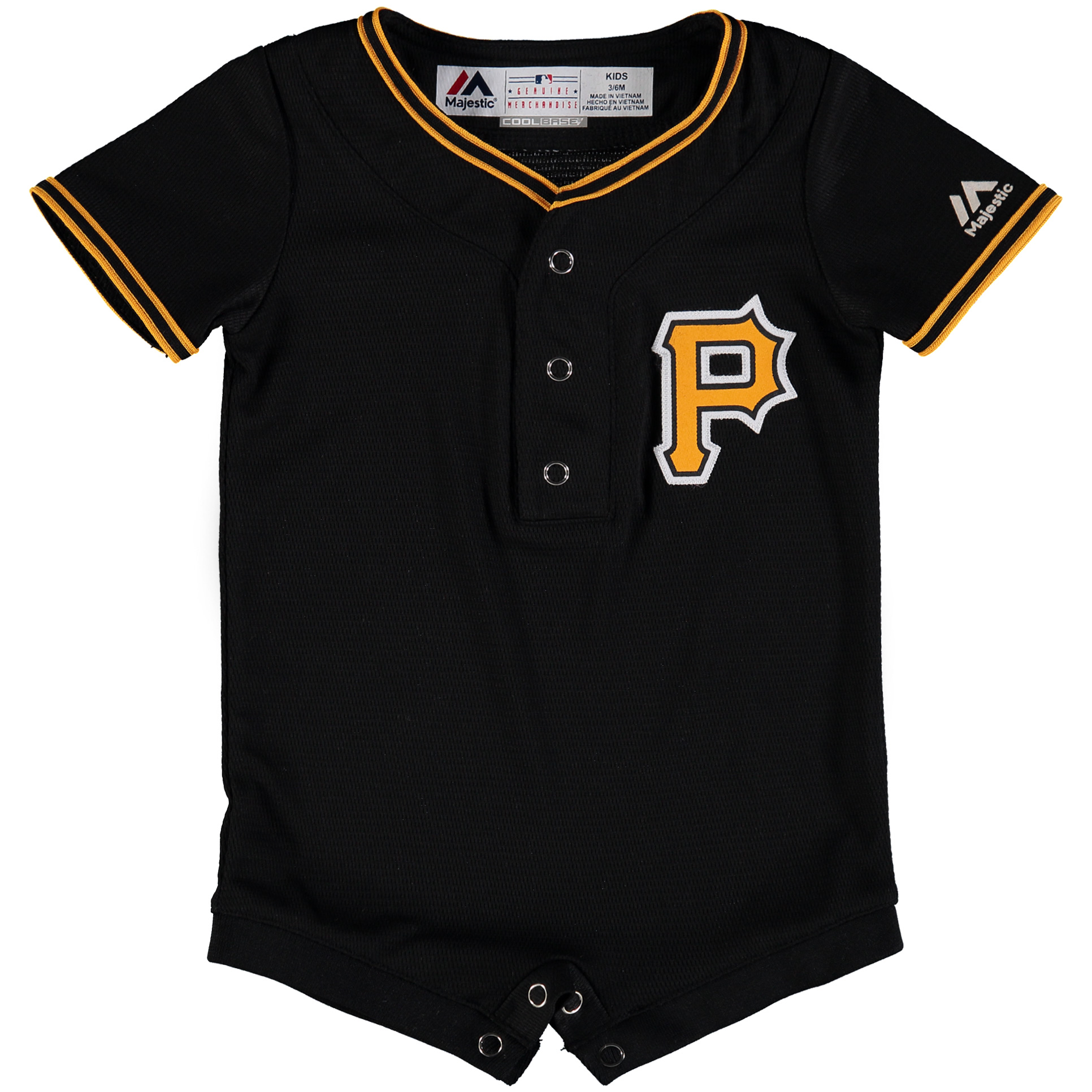 Pittsburgh Pirates Majestic Newborn & Infant Alternate Cool Base Romper Jersey Black by Outerstuff