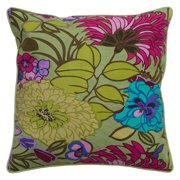 Rizzy Home Sage Green Bold Flower Pattern Decorative Throw Pillow
