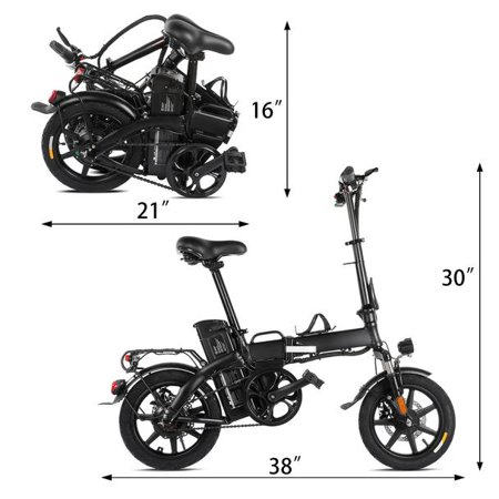 """XPRIT 14"""" Folding Electric Bicycle 250W City Coommuter, Aluminum Frame, LCD Display, 15mph Full Throttle/Pedal Assist up to 28 Miles per charge. - image 3 of 4"""
