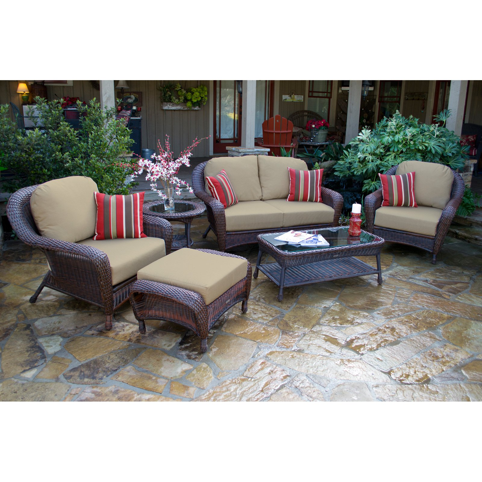 Tortuga Sea Pines 6 Piece Deep Seating Conversation Set with Loveseat