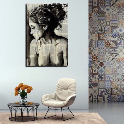 Abstract Newspaper Girl Women Side Face Oil Painting Poster for Bedroom Living Room Canvas Artwork Picture