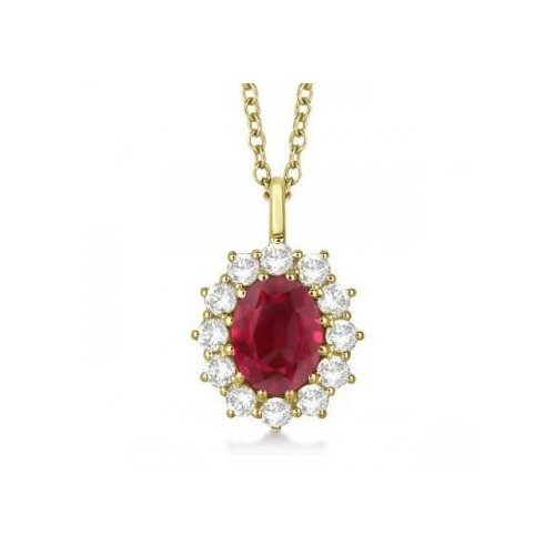 Seven Seas Jewelers Oval Ruby & Diamond Pendant Necklace For Women Princess Kate Royal Jewelry 14k Yellow Gold (3.60ctw) by Brand New