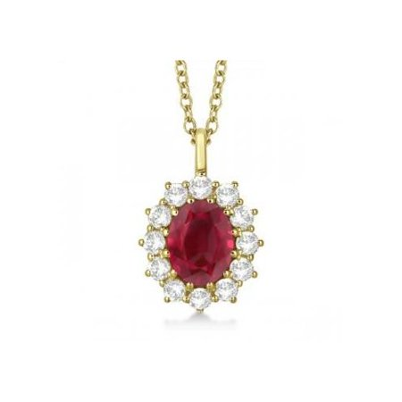 Seven Seas Jewelers Oval Ruby   Diamond Pendant Necklace For Women Princess Kate Royal Jewelry 14K Yellow Gold  3 60Ctw