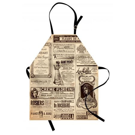 Paris Apron Vintage Old Historic Newspaper Journal French Paper Lettering Art, Unisex Kitchen Bib Apron with Adjustable Neck for Cooking Baking Gardening, Pale Brown Caramel and White, by Ambesonne