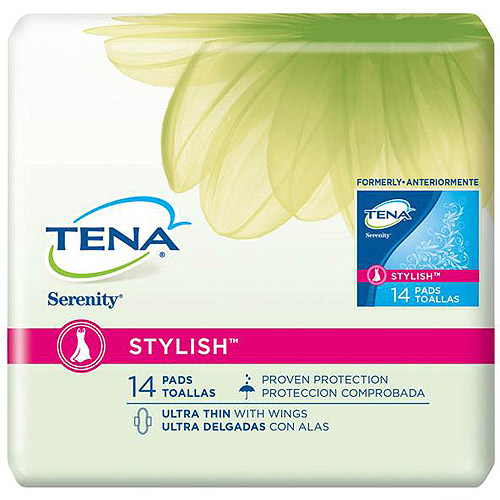 Tena Serenity Stylish Ultra Thin Pads with Wings, 14 count