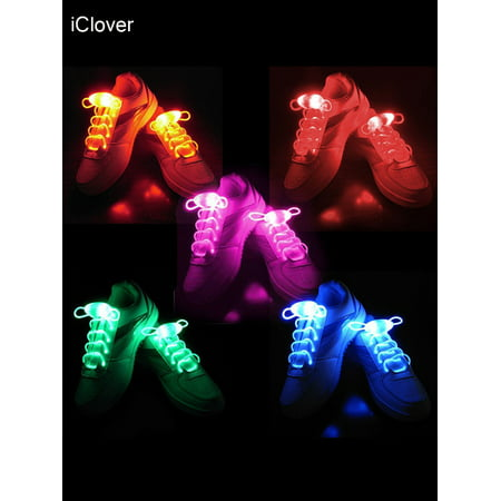IClover 5 Pairs Waterproof Luminous LED Shoelaces Fashion Light Up Casual Sneaker Shoe Laces Disco Party Night Glowing Shoe Strings](Glowing Ball Night Light)