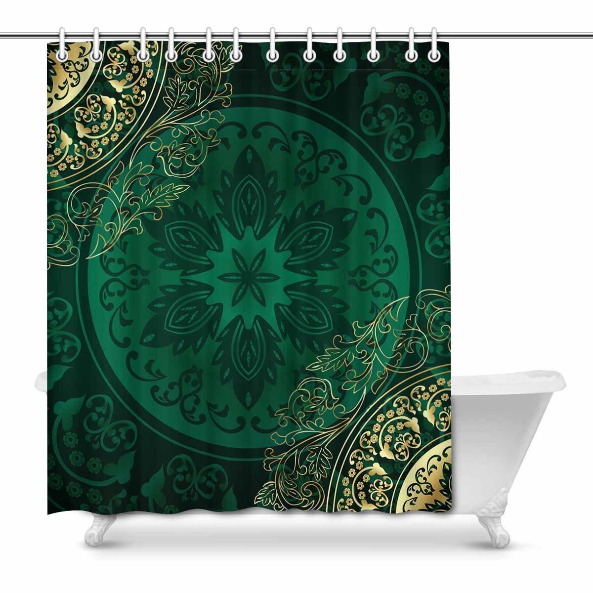 Mkhert Gold Green Mandala Floral Swirls Antique Eastern Arab Pattern House Decor Shower Curtain For Bathroom Decorative Fabric Bath Curtain Set 66x72