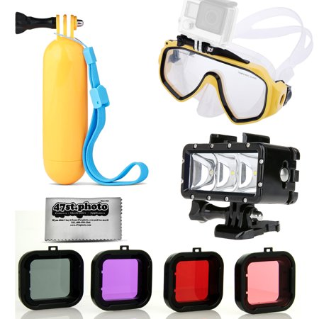 Opteka Scuba Diving Mask + Hand Grip + LED Flash Light + Scuba 4PC Filter for GoPro HERO4, HERO3+, Black, Silver and Similar Action