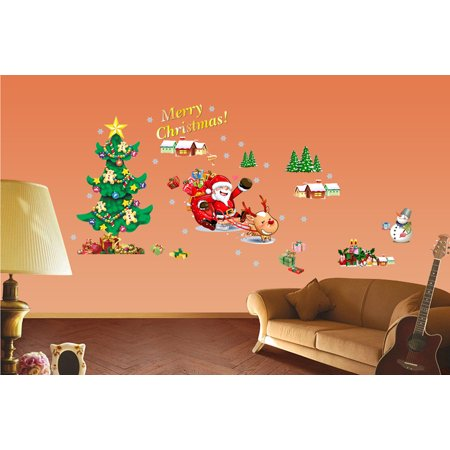 Christmas Tree The Santa Claus Removable Wall Stickers Art Decals Mural DIY Wallpaper for Room Decal 50 * 70cm ()