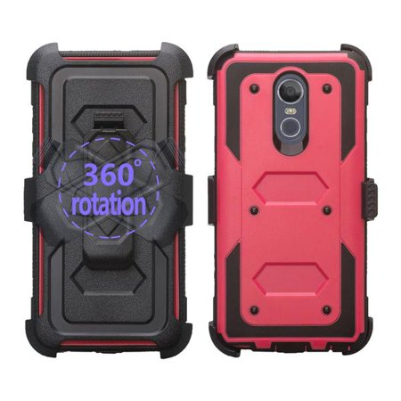 LG Stylo 4 Case, Rugged Series with Built-in [Screen Protector] Heavy Duty Full-Body Rugged Holster Armor Case [Belt Swivel Clip][Kickstand] (Hot Pink) - image 4 de 6