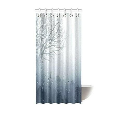 MYPOP Rainy Scene Mystic Foggy Forest Decor, Art Romantic Window Water Drops Scene Melancholia Therapy Lonely Tree Unique Bathroom Shower Curtain 36 X 72 Inches, Denim Gray - Halloween 5 Shower Scene