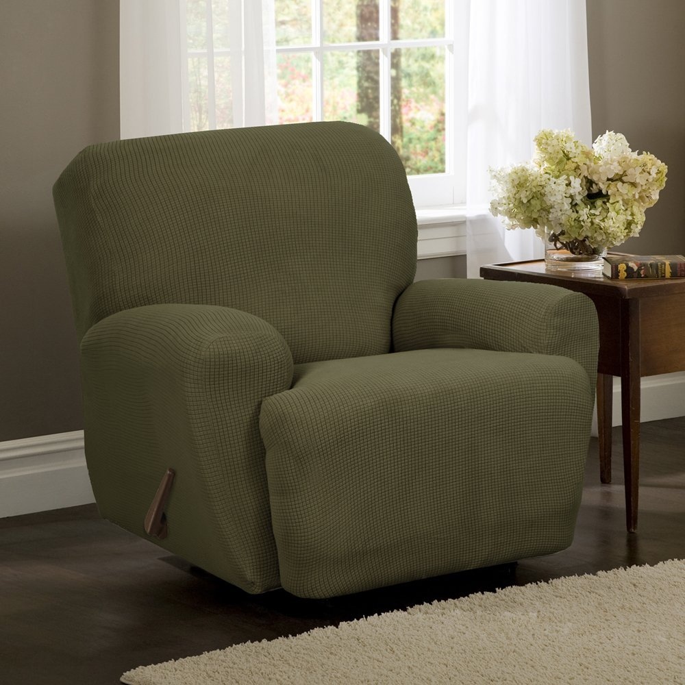 Stretch Reeves 4-Piece Recliner Slipcover, Dark sage, Value priced 4-piece stretch slipcover with elastic corners for a better fit (furniture not.., By MAYTEX
