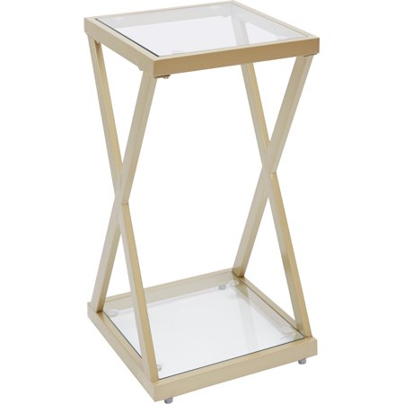 Better Homes & Gardens Geneva Metal X-Side Accent Table, Gold Finish