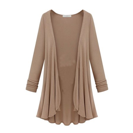Wool Long Cardigan - Tommyfit Women Plus Size Solid Color Long Sleeve Open Front Cardigan Coat