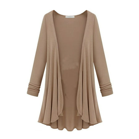 Tommyfit Women Plus Size Solid Color Long Sleeve Open Front Cardigan Coat