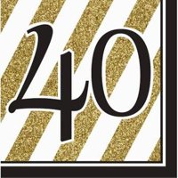 4c22c4c05be Product Image Black and Gold 40th Birthday Lunch Napkins