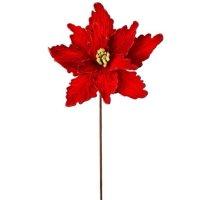 """3PK Glittered Velvet Poinsettia in Red - 24"""" Tall"""