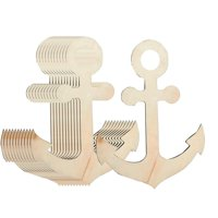 Unfinished Wood Cutout - 12-Pack Anchor Shaped Wood Pieces for Wooden Craft DIY Projects, Art Class, Pirate Mermaid Ocean Sea Themed Party, Home Decoration, Embellishment, 11.625 x 8.8 x 0.19 Inches