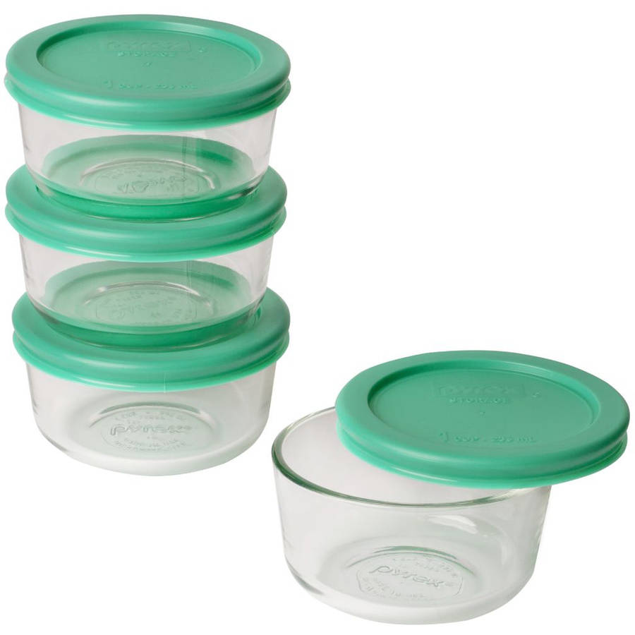 Pyrex Simply Store with Green Plastic Cover 8-Piece Value Pack