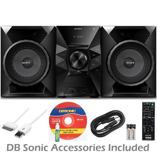 Sony MHCECL77BT 470 Watt NFC Bluetooth Sound System w/MP3 CD Player, Play & Sleep Timer, 2-Way Bass Reflex Speakers, AUX & USB Input, Wireless Remote