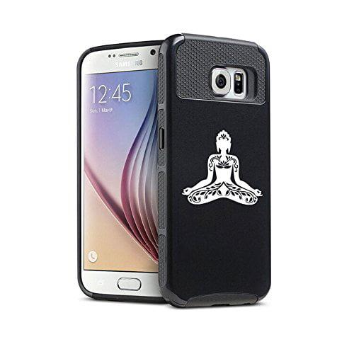 Samsung Galaxy S6 Edge Shockproof Impact Hard Case Cover Buddha Yoga Om Lotus (Black),MIP