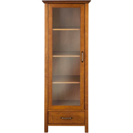 Elegant Home Fashions Calais Linen Cabinet, Oil Oak Broan Recessed Steel Cabinets