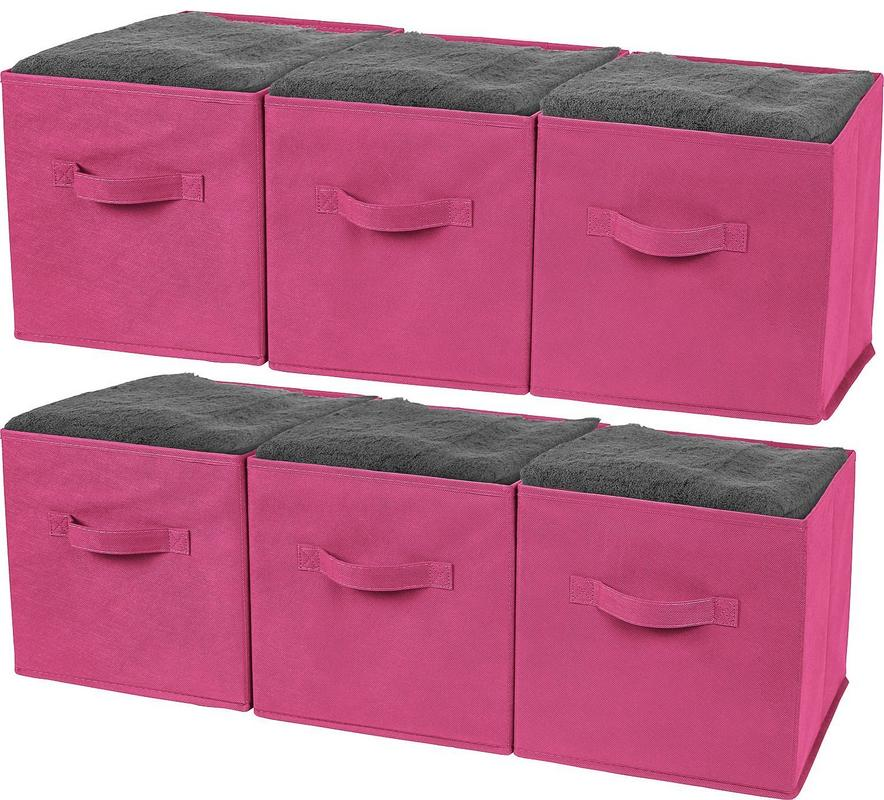 Greenco Foldable Storage Cubes Non-woven Fabric -6 Pack-(Pink)