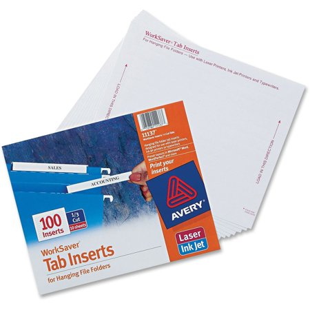 Avery  Worksaver  Tab Inserts 11137  100 Inserts  3 1 2