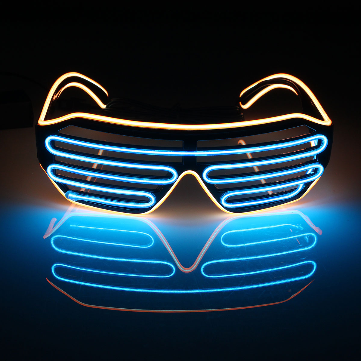 50ad8fdddab LED Light Up Glasses Women Men s Fashion Colorful El Wire Glasses Neon  Shutter Shaped Glow Light Sun Glasses For Rave Costume Party Club Halowwen  Festivals ...